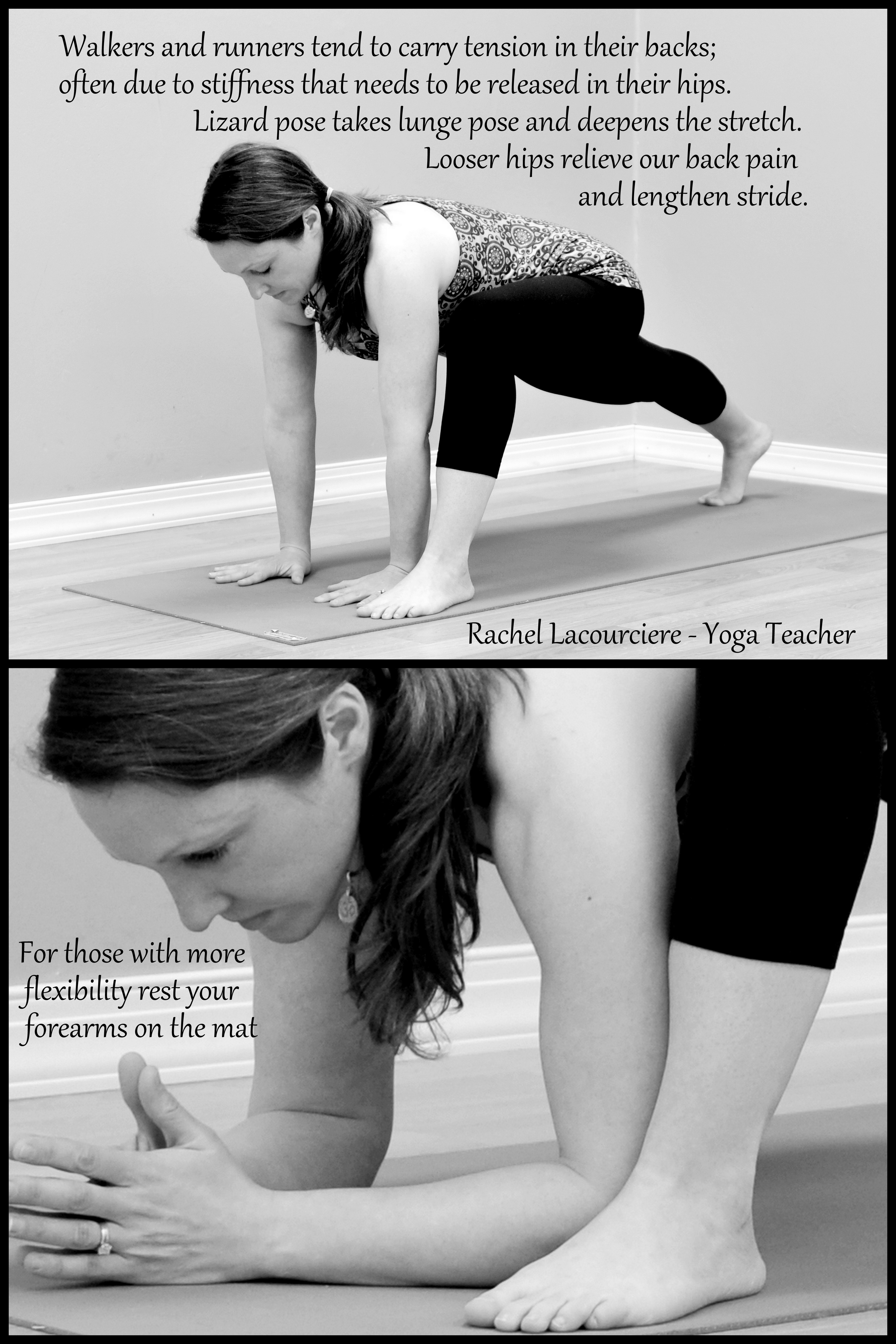 Lizard pose to stretch tight hips